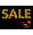 word sale from autumn leaves vector image