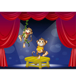 Two monkeys performing on the stage vector image vector image