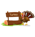 A wooden signage with a turkey vector image vector image