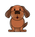 color pencil cartoon front view dog animal sitting vector image vector image