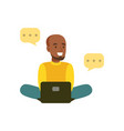young smiling black man sitting on the floor vector image vector image