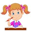 Little girl cartoon studying vector image