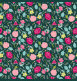 background with flowers and herbs on dark green vector image