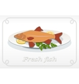 Fish with fins on plate lemon and parsley icon vector image