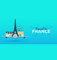 travel to france airplane with attractions vector image