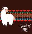 ethnic poster with lama and traditional ornament vector image