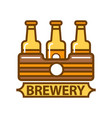 package of three beer bottles brewery symbol flat vector image