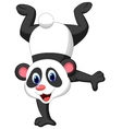 Panda cartoon standing on his hand vector image