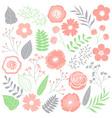Pink Floral Set vector image