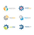 set of gear logo combination mechanic and vector image
