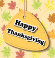 Thanksgiving label with leaf pattern vector image