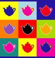 tea maker sign pop-art style colorful vector image