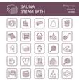 sauna steam bath line icons bathroom equipment vector image
