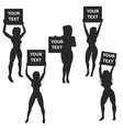 set of ring card girls isolated on vector image