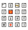 Web browser windows with icons collection vector image vector image