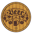 barrel of beer wooden barrel for beer vector image vector image