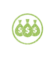 Money icon with three bags symbol with hand drawn vector image