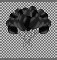 bunch of black helium balloons isolated on vector image