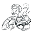 chef Baker and fresh Bread vector image