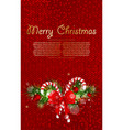 christmas background with fir branches and candy vector image