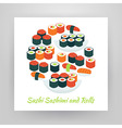 Flat Style Circle Set of Food Sushi Sashimi and vector image