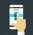 Hand selecting a product price on mobile device vector image