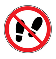 No shoes sign warning vector image