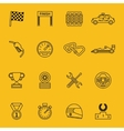 Race flag and line racing icons vector image