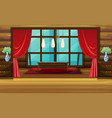 room design with red curtain and seats vector image