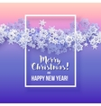 Round snow frame with Merry Christmas text vector image