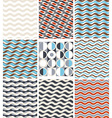 Waves - set of geometric seamless patterns vector image