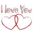 I love You text and two hearts vector image