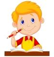 Little boy cartoon studying vector image
