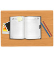 dairy and office supplies on the desk vector image
