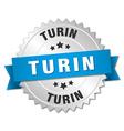 Turin round silver badge with blue ribbon vector image