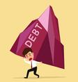 Bankruptcy concept businessman bearing big debt vector image