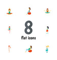 Flat icon pregnant set of fitness lady pregnancy vector image