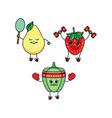 flat sketch fruits vegetables doing sport vector image