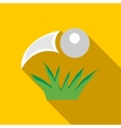 Golf ball flying icon flat style vector image