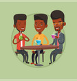 group of men drinking hot and alcoholic drinks vector image