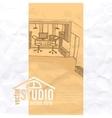 Home Office Interior Sketch vector image