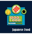 Traditional japanese cuisine dinner icons vector image