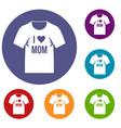 shirt with print icons set vector image