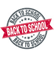 back to school red round grunge vintage ribbon vector image
