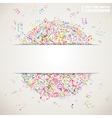 Colorful square music background with white stripe vector image