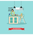 cooking housewife and vector image