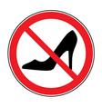 No high heel shoes sign warning vector image
