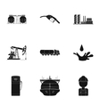 Oil industry set icons in black style Big vector image