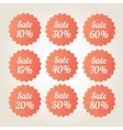 Orange sale badge stickers set vector image
