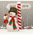 Snowman in a red scarf vector image